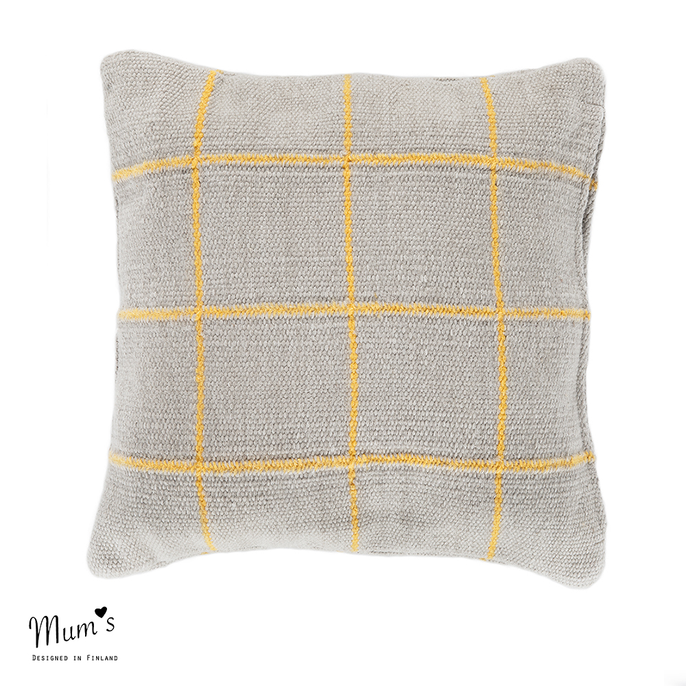 Ikikorpi cushion yellow on light grey